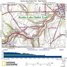 Keuka Outlet Trail Map West. (See Map East on my pin board).   Between the villages of Penn Yan on Keuka Lake and Dresden on Seneca Lake, lies the Keuka Outlet Trail.  The trail runs alongside the meandering Keuka Outlet. This was the historic Crooked Lake Canal (1833-1877) that once connected the lakes by dropping 270 feet over 8 miles through the ravine created by the Keuka Outlet Creek.  National Geographic Maps source: www.cnyhiking.com/KeukaLakeOutletTrail.htm
