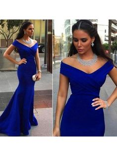 BLUE OFF SHOULDER V NECK MERMAID PROM DRESS