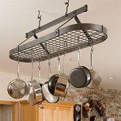 Found it at Wayfair - Grid Oval Rack Pot Rack Hanging, Hanging Pots, Hanging Storage, Rustic Kitchen Decor, Home Decor Kitchen, Kitchen Ideas, Diy Kitchen, Utensil Racks, Pot Racks