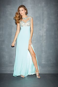 2014 Mesh Illusion Prom Dresses Scoop Neckline Sheath With Beads&Applique LPJCKN296 - Labeautes.com for mobile