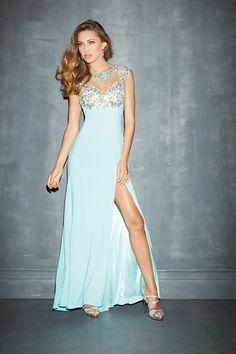 2014 Mesh Illusion Prom Dresses Scoop Neckline Sheath With Beads&Applique LPJCKN296 - Labeautes.com for mobile