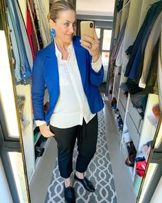Post Pregnancy Clothes, Pre Pregnancy, Pregnancy Outfits, Pregnancy Workout, Work Wardrobe, Personal Stylist, Black Shoes, Royal Blue, Ootd