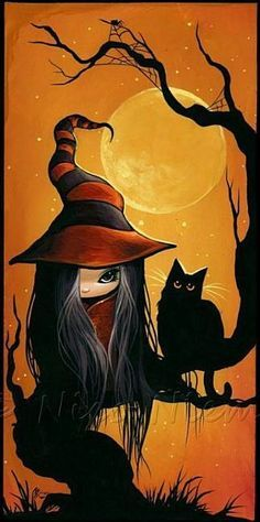 Art 'Crooked Tree' - by Nico Niemi from witches awe... I love the whiskers on the kitty
