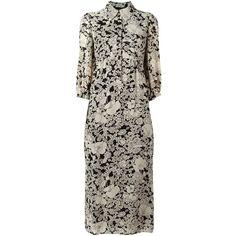 Saint Laurent Floral Print Shirt Dress (43.935 ARS) ❤ liked on Polyvore featuring dresses, black, floor length skirts, floral shirt dress, long shirt dress, 3/4 sleeve dress and flower print dress