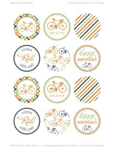 Bicycle Cupcake Topper Printables