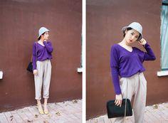 purple & beige