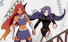 Teen Titans Starfire and Raven