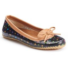 Western Chief Ditsy Dot Women's Skimmer Waterproof Rain Flats (534.145 IDR) ❤ liked on Polyvore featuring shoes, flats, black, black round toe flats, ballet shoes, bow ballet flats, slip on shoes and polka dot ballet flats