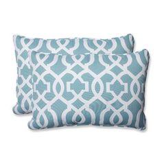 """Pillow Perfect New Geo Indoor/Outdoor Lumbar Pillow Fabric: Aqua, Size: 16.5"""" H x 24.5"""" W x 5"""" D"""