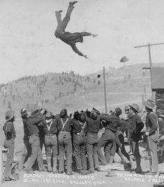 Blanket toss at Cripple Creek Colorado.  Great moment!