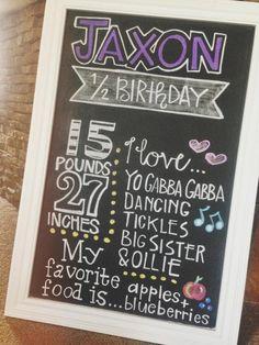 Custom Half Year or Year Birthday Chalkboard // jmpaper Half Birthday, Birthday Board, 2nd Birthday Parties, Birthday Celebration, Birthday Ideas, Baby Girl Photos, Birthday Chalkboard, Birthday Pictures, Baby Month By Month