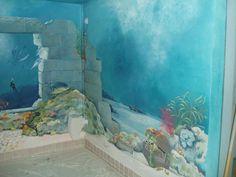 Underwater mural around basement pool. Decorative Arts, Murals, and Faux Amazing Gardens, Beautiful Gardens, Mermaid Bedroom, Fish Wall Art, Outdoor Venues, Wall Murals, Sea Murals, Ocean Mural, Swimming Pools