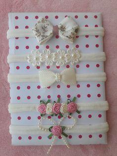 Diy Baby Headbands, Flower Girl Headbands, Diy Hair Bows, Diy Bow, Baby Bows, Handmade Flowers, Handmade Crafts, Business Baby, Bow Template