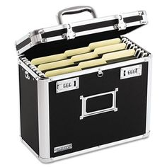 Secure your important files for transport. Internal rails are sized for letter-size hanging file folders. Double combination locks provide convenient security, while the comfortable chrome handle makes it very portable. Chrome steel corners and aluminum rails offer strength. Rubber feet prevent surface scuffing. For more wholesale office supplies like these, visit us online at http://www.cleansweepsupply.com. FREE shipping on orders over fifty dollars!