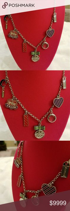 🍃MINT🍃Coach🌺Poppy🌺Charm Necklace 🍃MINT🍃Coach🌺Poppy🌺Charm Necklace. Phenominal condition! Does not look if ever worn 🚫NO scratches and 🚫NO tarnish anywhere!    🖤RARE🖤Collector's item from the 💚most-loved💚        🌺Poppy🌺line from Coach  Shades of: ❤Red, 💗Pink, 🖤Black, 💚Green, etc. with 💙Hearts, 🌟Bling, 🎉Tags, etc. Gorgeous & Beautiful. 🍃MINT🍃 👉EUC👈. Coach Jewelry Necklaces