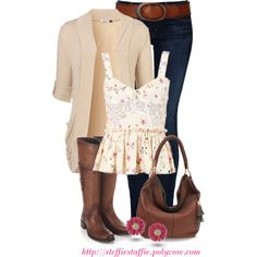 Floral Peplum, Cardigan & Rustic Leather, created by steffiestaffie on Polyvore