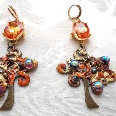 Boucles d'oreilles tons automnales roux, rouille, orange, bronze