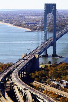 NYC Marathon ~ Runners on the Verrazano Narrows Bridge