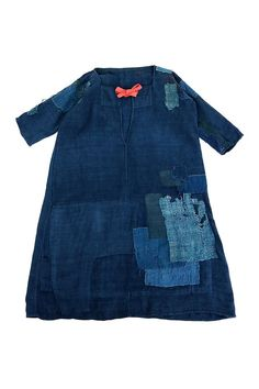 Patchwork Dress, Boro, Half Sleeves, French Antiques, Color Mixing, Indigo, Hand Weaving, Vintage Outfits, Japanese