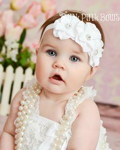 Stunning baby headband in white, flower headband, baby girl headband,baby bows, Christening headband,Christmas headband, baby bows.. $9.95, via Etsy.