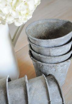 zinc pots at Buckets of Burlap