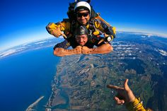 """Skydiving in Abel Tasman, New Zealand- My first time skydiving. I have bungy jumped a couple of times but have never had the opportunity to jump out of a plane. I always say, """"If your going to do something, you might as well go big or go home."""""""