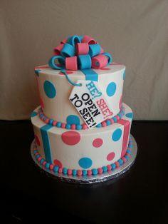 gender reveal cakes images | Present Gender Reveal Cake