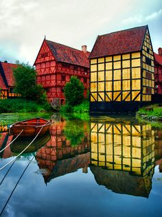 Aarhus, Denmark buildings with reflections, very pretty