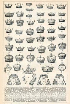 1894 German Antique Engraving of 51 Crowns