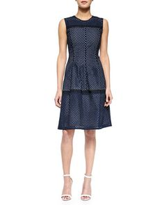 Mesh Contrast-Lined Dress, Navy by Lela Rose at Bergdorf Goodman.