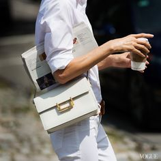 @Vogue Magazine makes a point for wearing white after Labor Day in J BRAND denim.