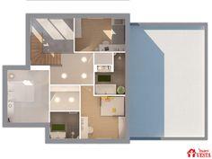 Plan de l'étage du modèle Gulliver (étage, style contemporain). Surface : 125m² + 49.69 m² surface annexe