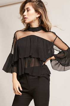 Product Name:12x12 Sheer Flounce Top, Category:CLEARANCE_ZERO, Price:35