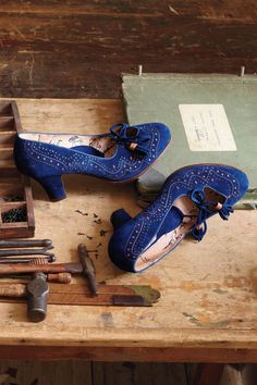 Anthropologie Perforated Lace-Up Heels
