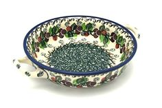 Polish Pottery Baker - Round with Handles - Small - Burgundy Berry Green
