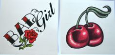 CHERRIES VINTAGE BAD GIRL TEMPORARY SMALL TATTOOS RETRO ROCKABILLY PINUP TATOOS