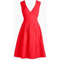 J.Crew V-Neck Dress (12.750 RUB) ❤ liked on Polyvore featuring dresses, red dress, day party dresses, red party dresses, red holiday party dress and holiday party dresses