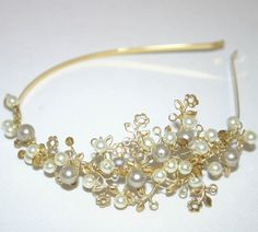 Today I'm going to try and make something like this, in brass and eggplant rather than gold and white. #tiara #Swarovski