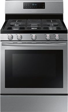 Samsung - Self-Cleaning Freestanding Gas Convection Range - Stainless Steel - Front Zoom Home Depot, Ranger, Cast Iron Griddle, Large Oven, Appliance Packages, Kitchen Stove, Kitchen Appliances, Kitchens, Kitchen Redo