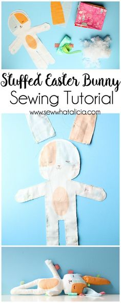 Stuffed Easter Bunny Tutorial: This cute panel from Moda makes it quick and easy to make a stuffed Easter bunny. Click through for the full tutorial and for some fun tips and additions to the bunny! | www.sewwhatalicia.com