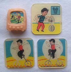 Vintage Flicker Toys 3 cracker jack flasher tilt cards & pink tv ...