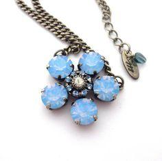 Swarovski Crystal Flower Pendant 11mm Air Blue by SiggyJewelry