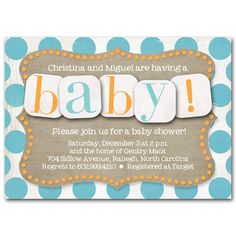 Baby shower invitation, Fun orange and aqua blue, printable digital DIY. $25.00, via Etsy.