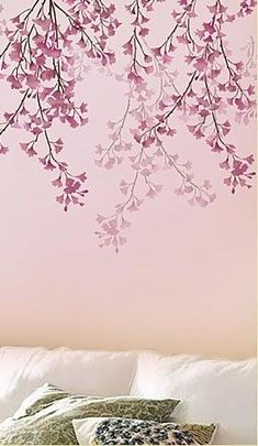 wall Stencil Nature - Cherry Branches stencil for easy wall decor DIY and save with stencils. Large Wall Stencil, Damask Stencil, Wall Stenciling, Bedroom Murals, Wall Murals, Bedroom Wall, Wall Art, Tree Wall Decor, Diy Wall Decor