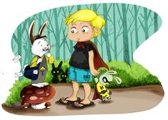 Alex and Bunny the Postman  #illustration , children storybook , Children book illustration