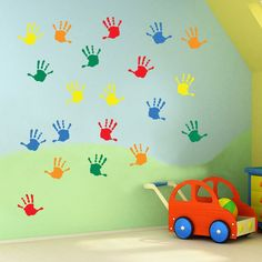Kids hand prints wall stickers kids nursery play room home art decoration children decals removable handmade school bedrooms bright vc-a Window Stickers, Wall Stickers, School Painting, Summer Crafts For Kids, School Decorations, Kids Hands, Wall Prints, Home Art, Playroom