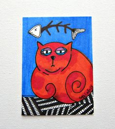 FISH & CAT Original Aceo Markers Drawing by PinkMeStudio on Etsy, $12.00