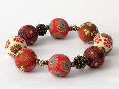 bracelet,fimo, beads, See im Wald Armband Polymer Clay Kunst Fimoperlen  von filigran-Design   auf DaWanda.com