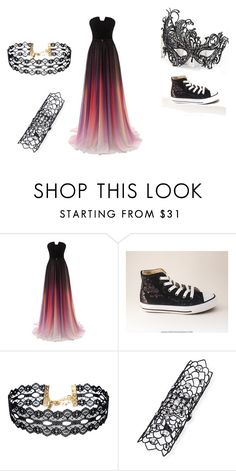 """""""lacy masked prom"""" by kstrickland2019 ❤ liked on Polyvore featuring Masquerade, Converse, Vanessa Mooney and Staurino Fratelli"""