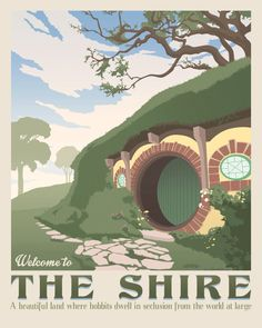 The shire poster. The lord of the rings. Hobbiton retro